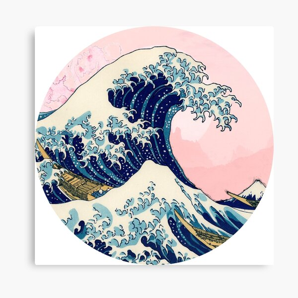 The Great Wave off Kanagawa pink sunset Canvas Print
