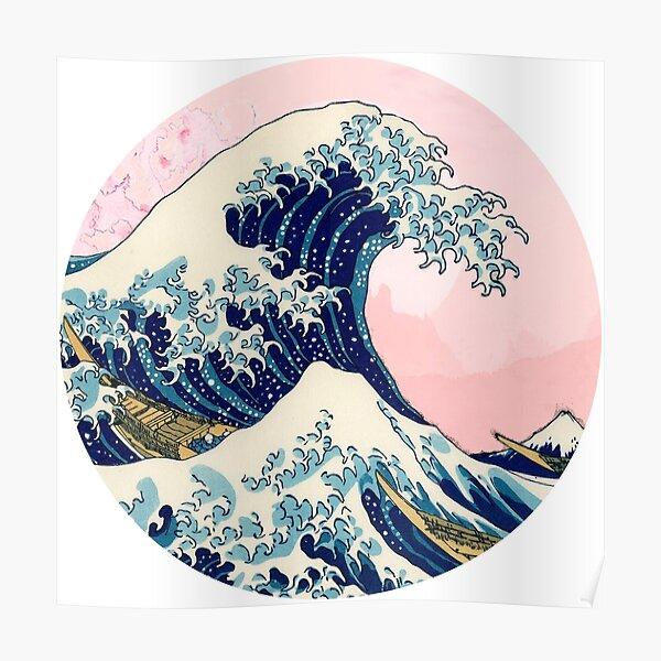 The Great Wave off Kanagawa pink sunset Poster