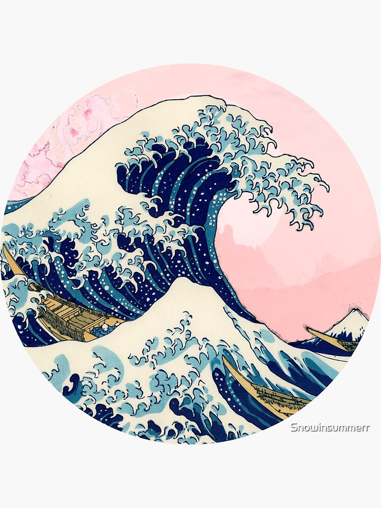 The Great Wave off Kanagawa pink sunset by Snowinsummerr