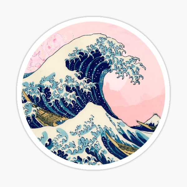 The Great Wave Off Kanagawa pink sunset Sticker