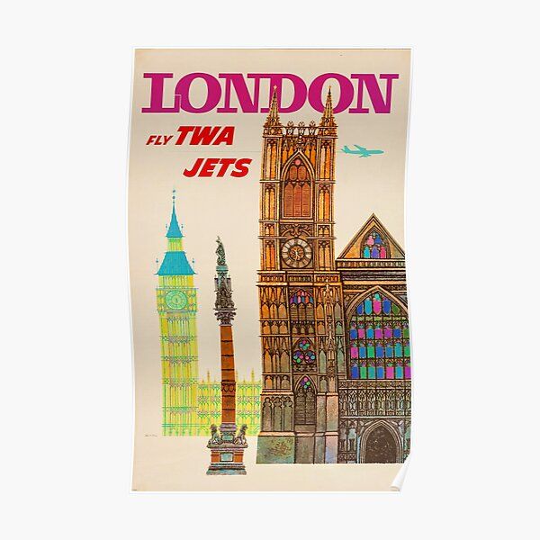 VINTAGE FLY TWA JETS TO LONDON TRAVEL ADVERTISEMENT! Poster