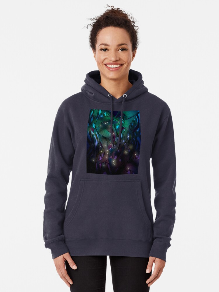Alternate view of Nocturne (with Fireflies) Pullover Hoodie