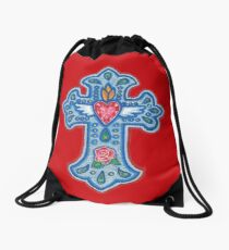 Blue Winged Heart Cross with Rose Drawstring Bag