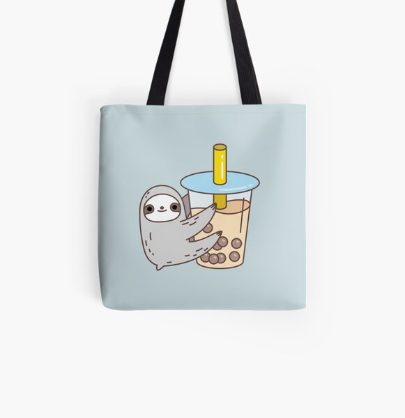 Sloth Loves Bubble Tea All Over Print Tote Bag