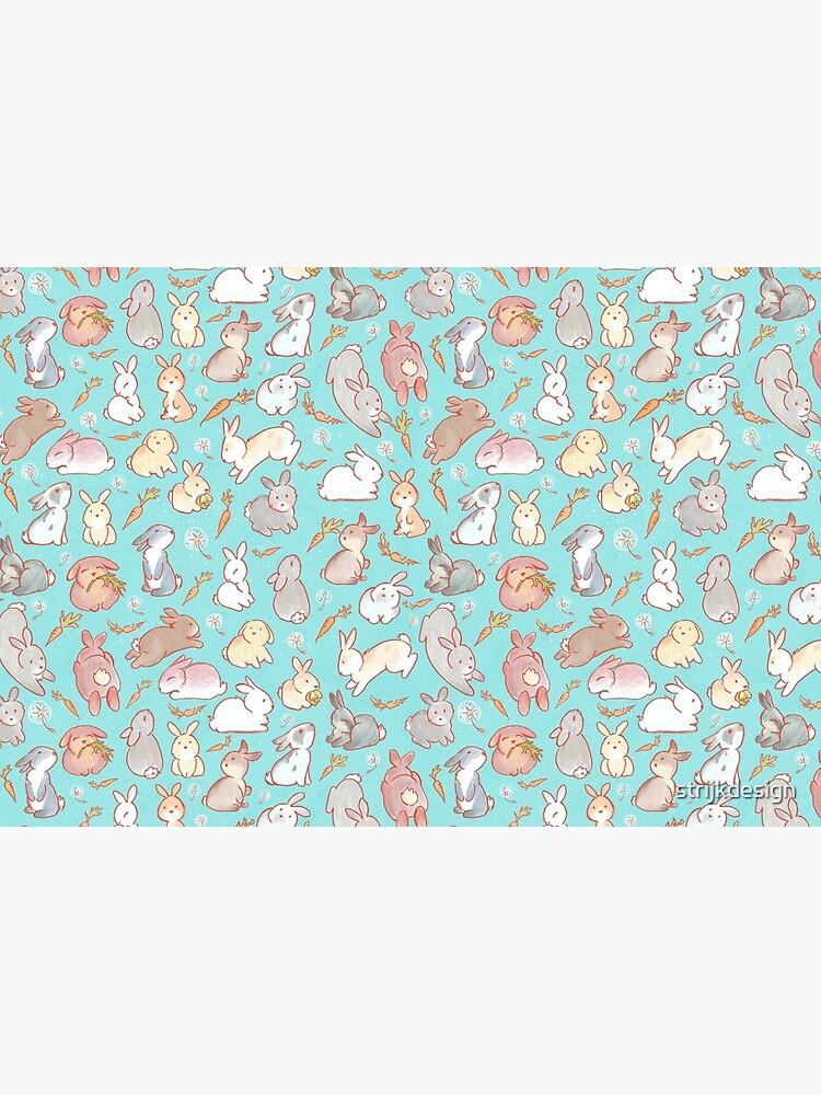 Cute bunny pattern blue by strijkdesign