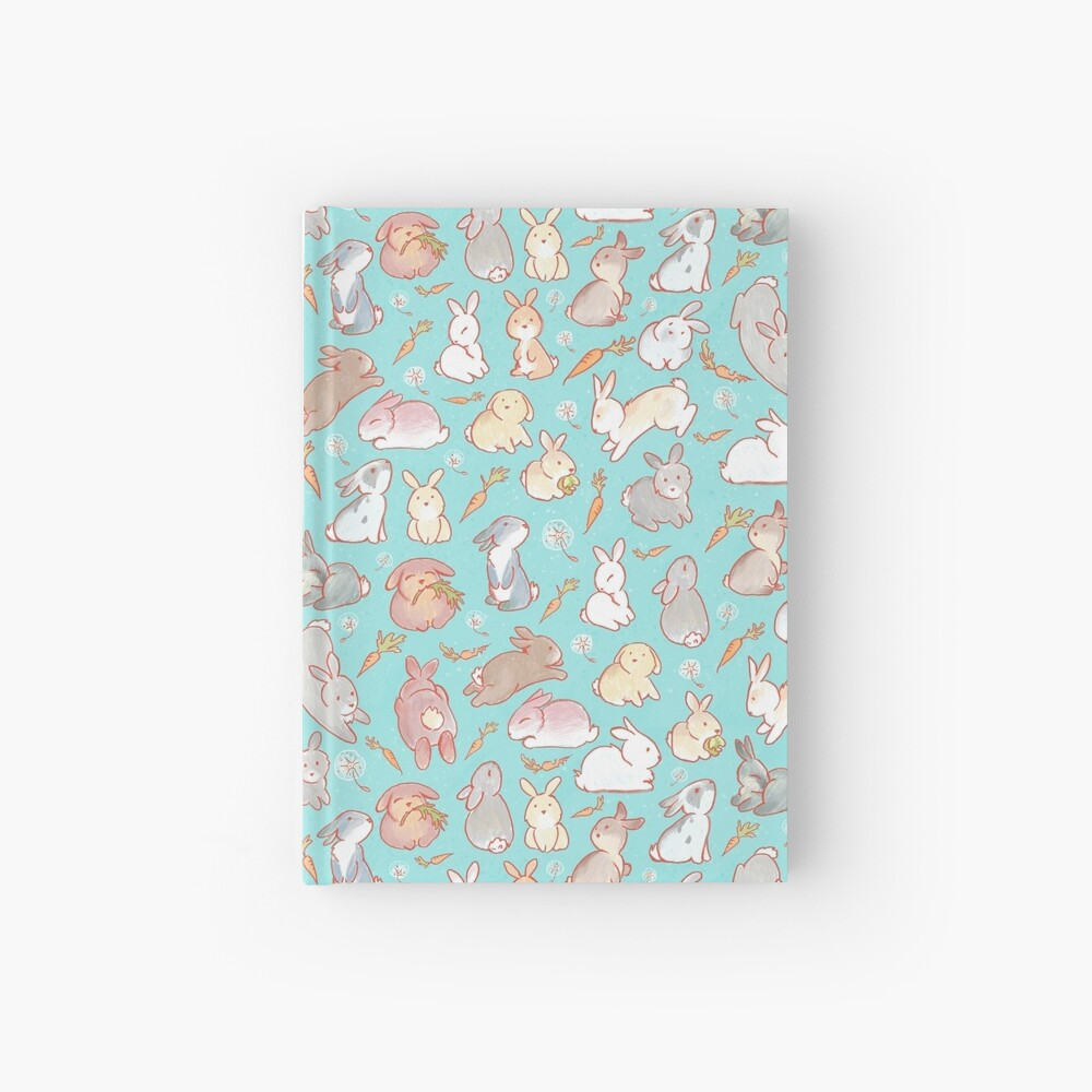 Cute bunny pattern blue Hardcover Journal