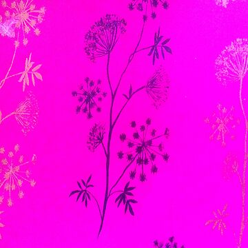 Hot pink  modern blue hand painted floral pattern by Kicksdesign