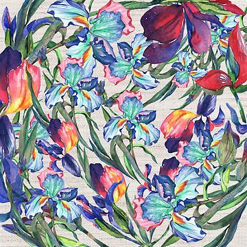 Ivory  linen red teal navy blue watercolor irises flowers by Kicksdesign