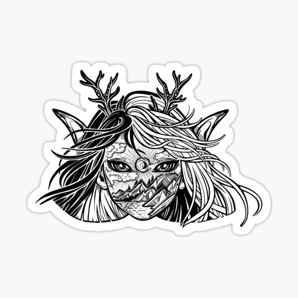 Young elf magic woman with double exposure face of forest landscape. Sticker