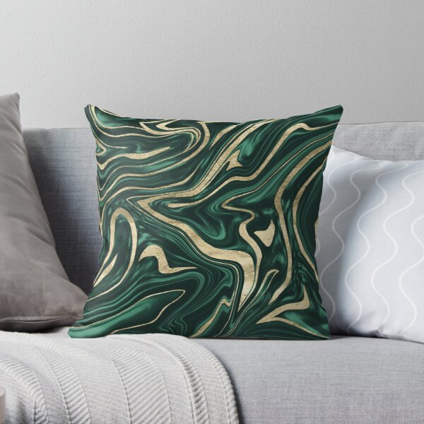 Emerald Green Black Gold Marble #1 #decor #art Throw Pillow