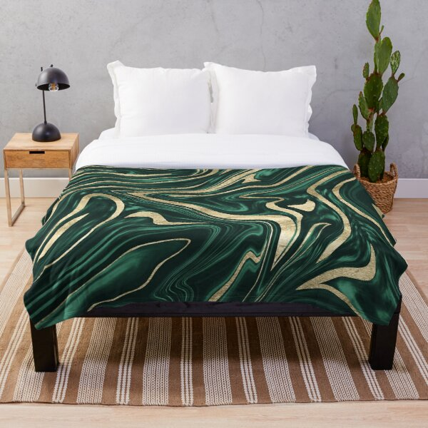 Emerald Green Black Gold Marble #1 #decor #art Throw Blanket