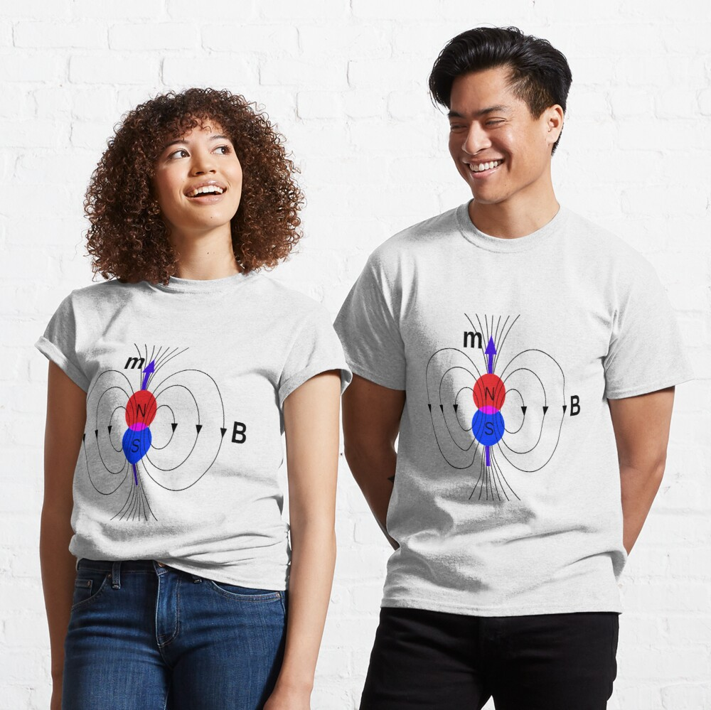 A #magnetic #dipole is the limit of either a closed loop of #electric #current or a pair of poles as the dimensions of the source are reduced to zero while keeping the magnetic moment constant Classic T-Shirt