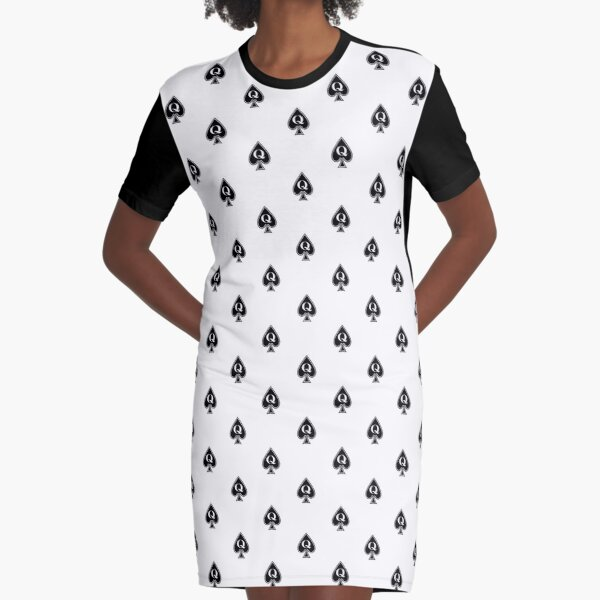 Queen of Spades Phone Case - White Graphic T-Shirt Dress