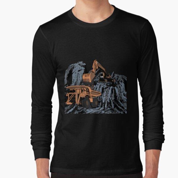 Excavator Loading Mining Dump Truck Long Sleeve T-Shirt