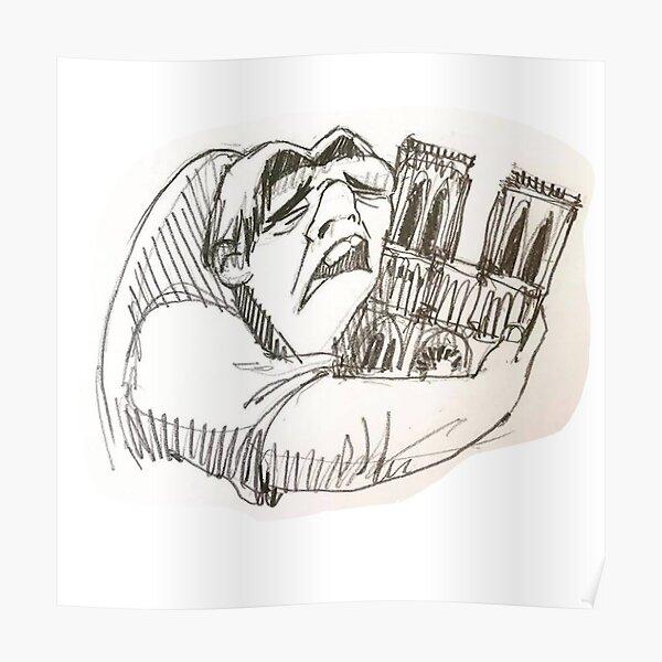 Notre Dame de Paris cathedral on fire 15 april 2019 The Hunchback Poster