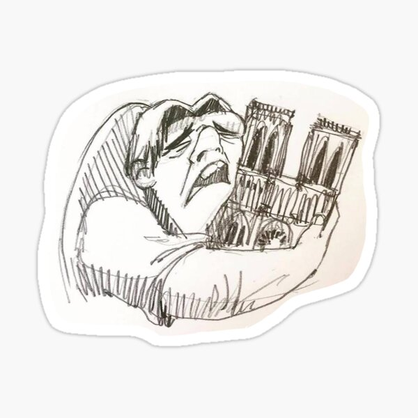 Notre Dame de Paris cathedral on fire 15 april 2019 The Hunchback Sticker