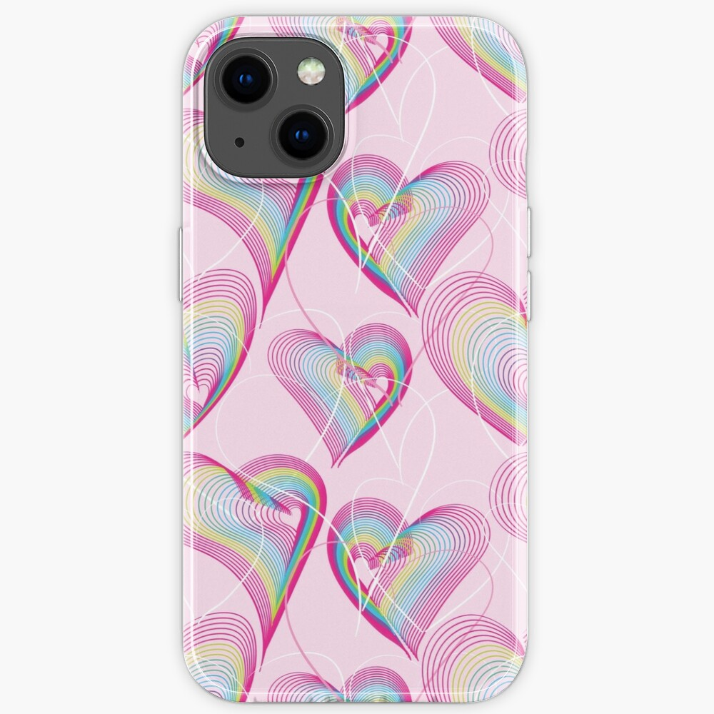 Candy rainbow hearts pattern iPhone Case
