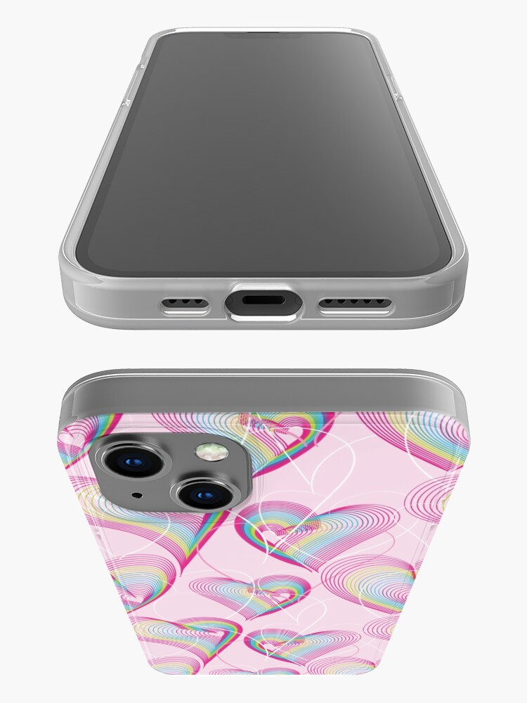 Alternate view of Candy rainbow hearts pattern iPhone Case
