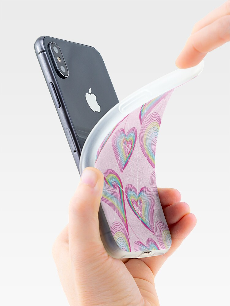 Alternate view of Candy rainbow hearts pattern iPhone Case & Cover