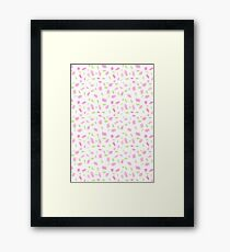 Pink and Green Scribbles Framed Print