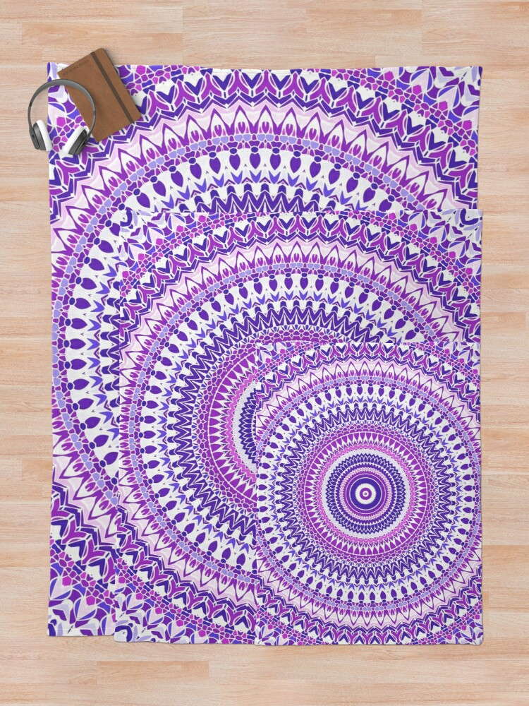 Alternate view of Purple Forever Mandala Throw Blanket