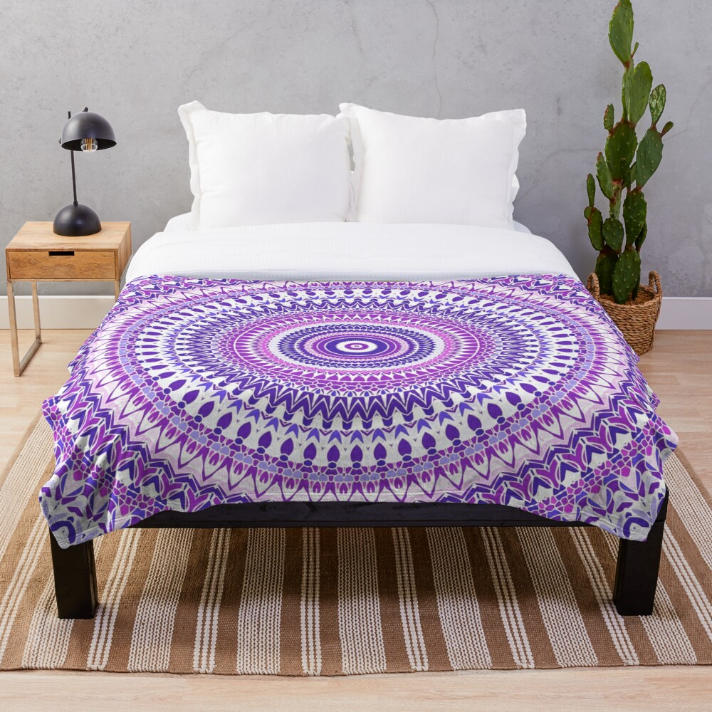 Purple Forever Mandala Throw Blanket