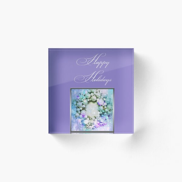 Happy Holidays Purple Acrylic Block