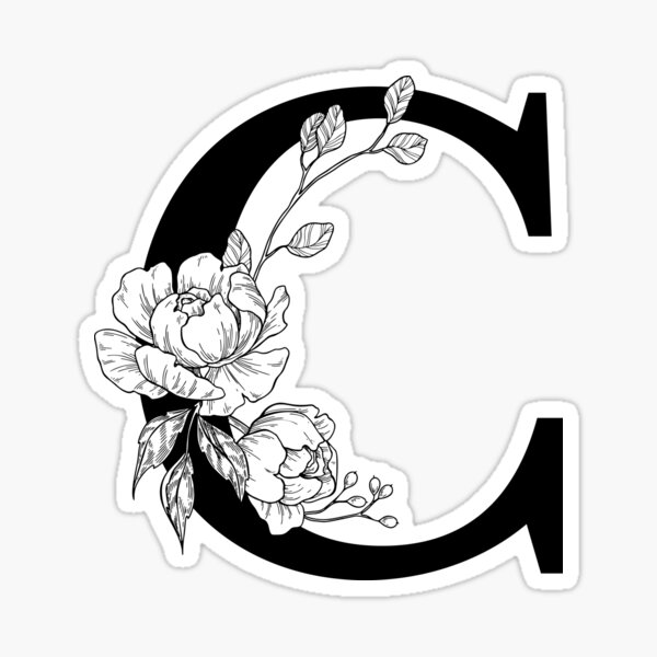 C Botanical Monogram. Detailed Peony Drawing Sticker