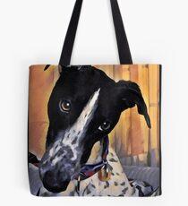 Diamond Dog - Black and White Cow Greyhound  Tote Bag