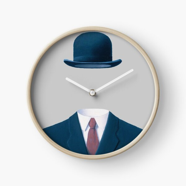 Man In a Bowler Hat by Rene Magritte, Artwork For Prints, Posters, Tshirts, Bags, Men Women, Kids  Clock
