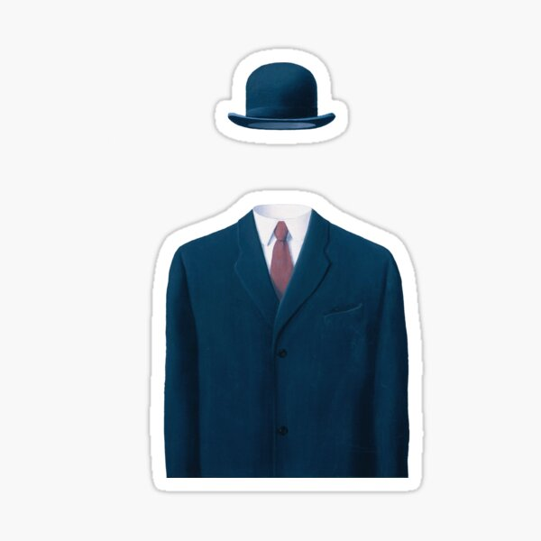 Man In a Bowler Hat by Rene Magritte, Artwork For Prints, Posters, Tshirts, Bags, Men Women, Kids  Sticker