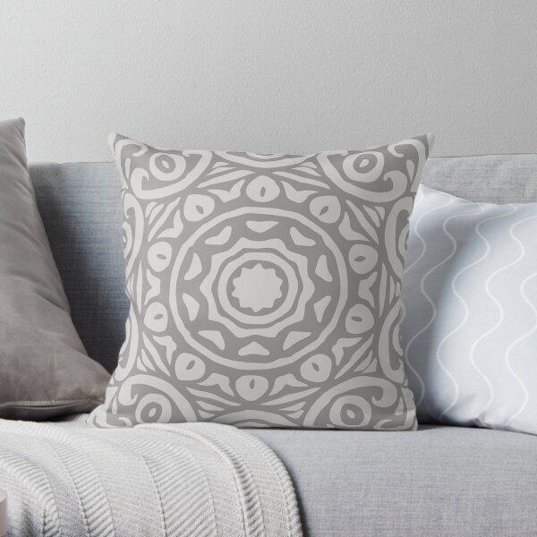 Grey Elegant Floral Abstract Mandala Throw Pillow