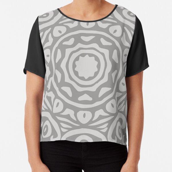 Grey Elegant Floral Abstract Mandala Chiffon Top