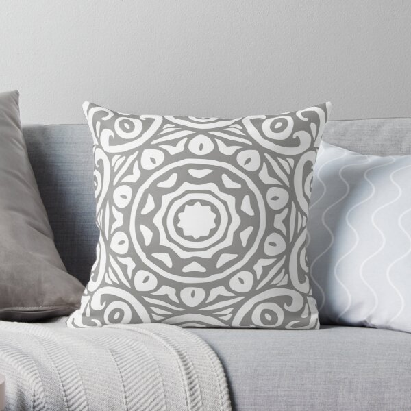 Grey & White Elegant Floral Abstract Mandala Throw Pillow