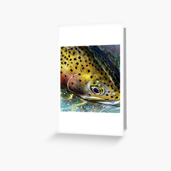 Mountain Streams Rainbow Trout Head Painting Greeting Card