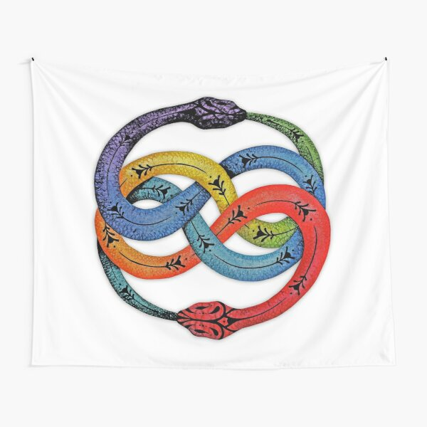 Ouroboros with Chakras Colors Tapestry