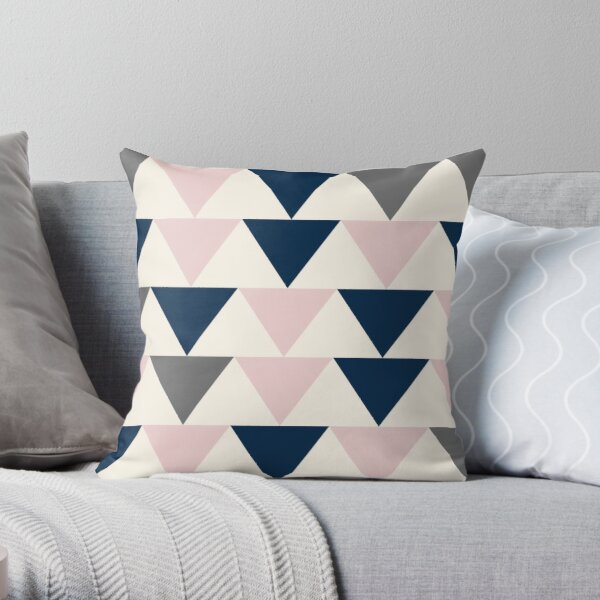 Arrows in Navy Blue, Charcoal Grey, and Blush Pink on Light Champagne. Minimalist Geometric Contemporary Design Throw Pillow