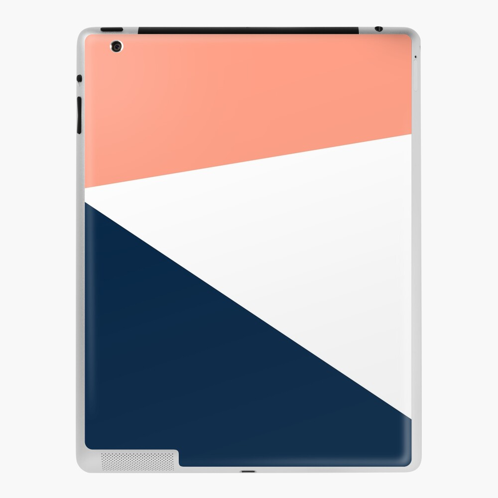 Jag Minimalist Angled Geometric Color Block In Navy Blue Millennial Blush Pink And White Ipad Case Skin By Kierkegaard Redbubble