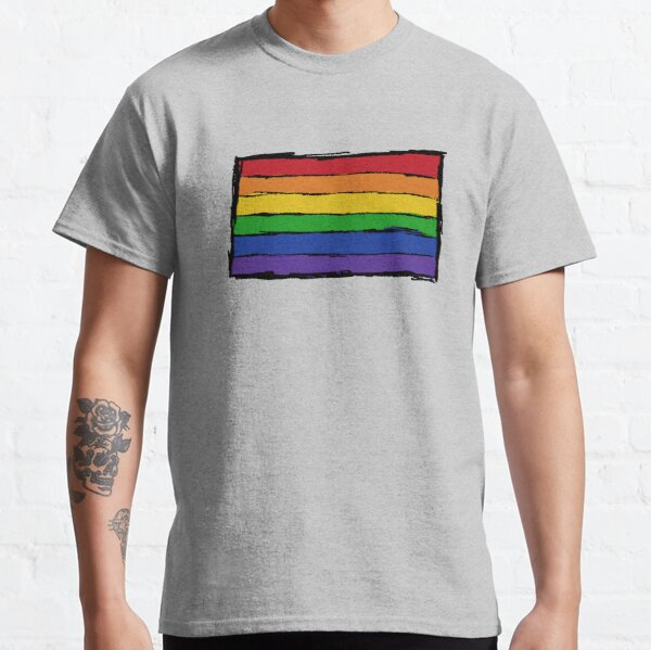 Minimalist Pride Flag Ink Drawing Classic T-Shirt