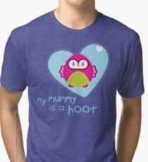 OWL SERIES :: heart - mummy is a hoot 4 Tri-blend T-Shirt