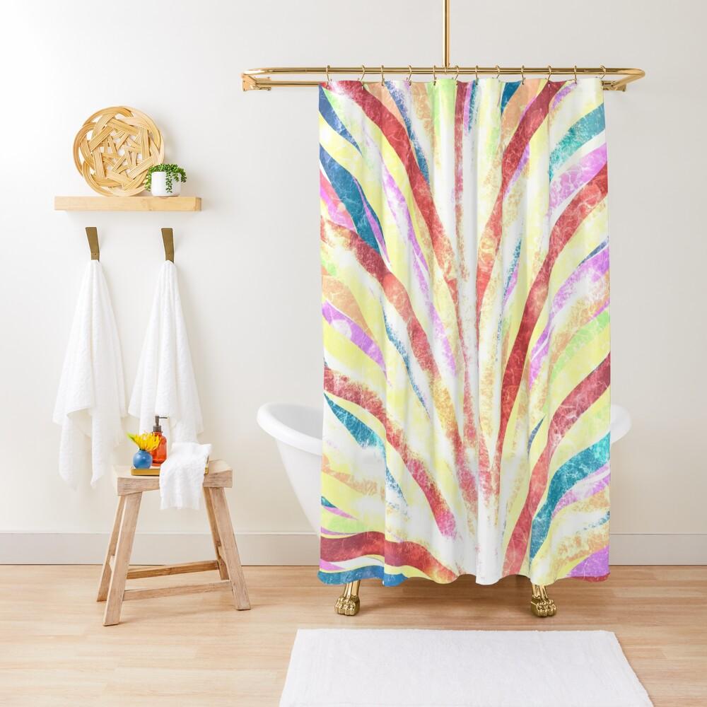 The Fountain - Striped Abstract Drawn Digital Art  Shower Curtain