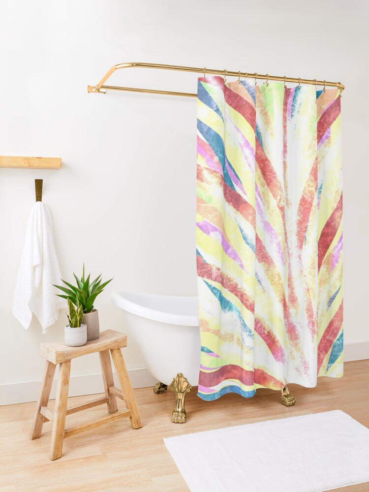 Alternate view of The Fountain - Striped Abstract Drawn Digital Art  Shower Curtain