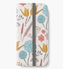Sommerblumendruck iPhone Flip-Case/Hülle/Skin