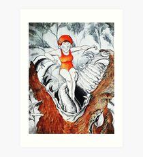 Orange Badeanzug Kunstdruck