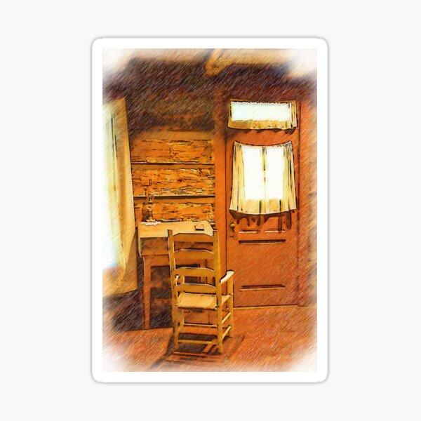 Log Cabin Desk, Chair And Door Sticker