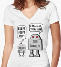 Beeping Robot Women's Fitted V-Neck T-Shirt