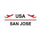 San Jose USA Airport Plane Light-Color by TinyStarAmerica