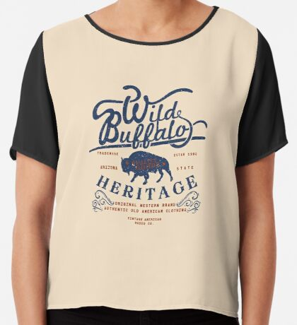 Wild Buffalo Arizona State Retro Label Chiffon Top