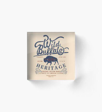 Wild Buffalo Arizona State Retro Label Acrylic Block