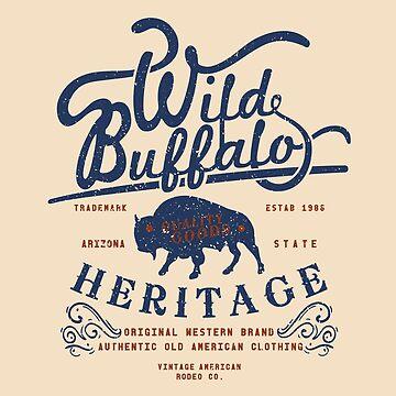Wild Buffalo Arizona State Retro Label by Chocodole